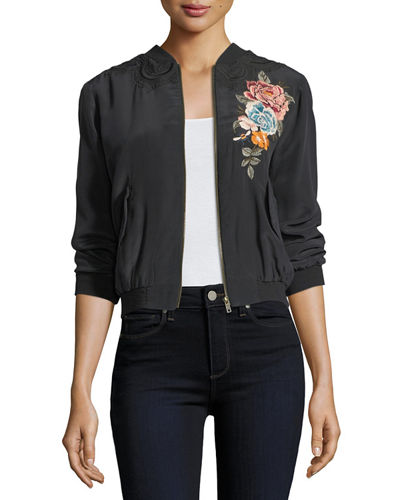 Alice Silk Crepe Embroidered Bomber Jacket, Plus Size