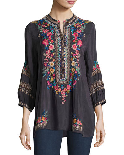 Johnny Was Sarabeth 3/4-Sleeve Georgette Tunic, Plus Size