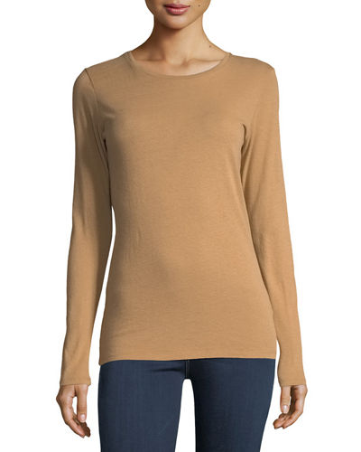 Cotton/Cashmere Crewneck Long-Sleeve T-Shirt