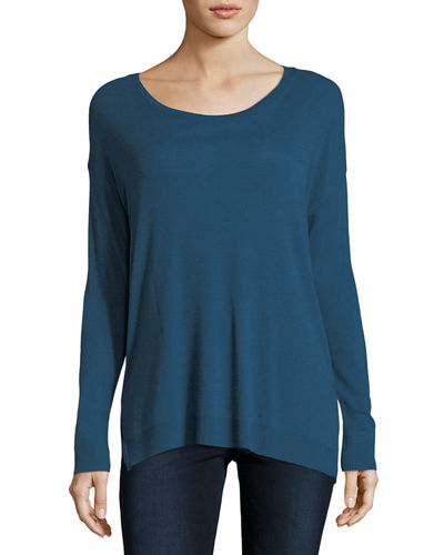 Cotton/Cashmere Long-Sleeve Crewneck T-Shirt