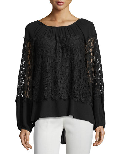 Sunneva Lace Mix Crepe Top, Plus Size