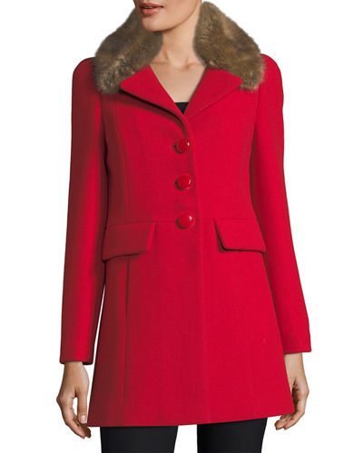 wool-twill a-line coat w/ faux-fur collar