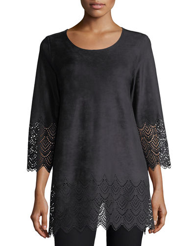 Laser-Cut Faux-Suede Pullover Tunic, Plus Size