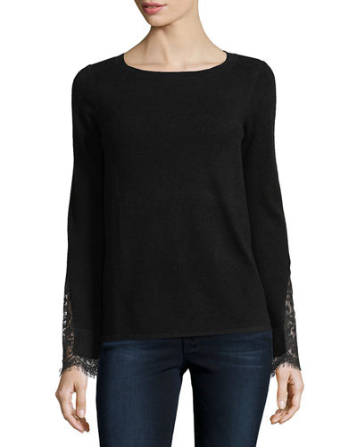 Lace-Cuff Cashmere Crewneck Sweater