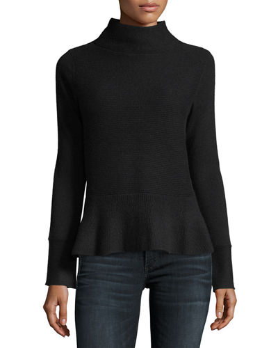 Ribbed Mock-Neck Cashmere Peplum Sweater