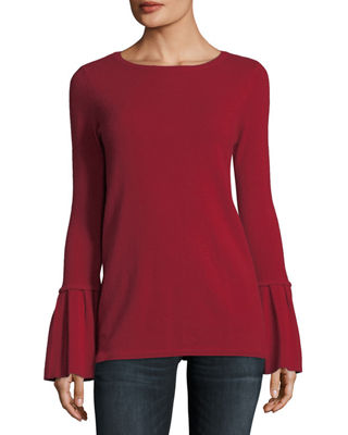 Neiman Marcus Cashmere Collection Pleated Bell-Sleeve Boat-Neck ...