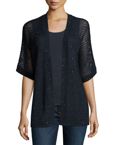 Neiman Marcus Cashmere Collection Open-Weave Sequin Cashmere