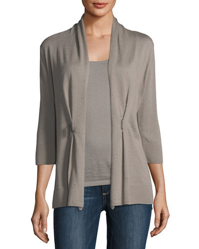 3/4-Sleeve Crystal Buckle Cashmere Cardigan