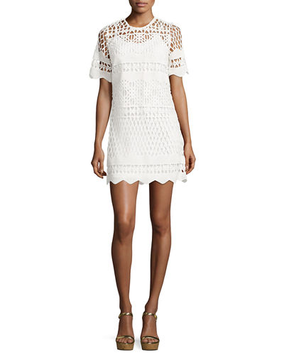 Kendall + Kylie A-Line Crochet-Overlay Shift Dress