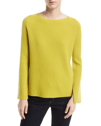 Long Split-Sleeve Crewneck Ribbed Cashmere Sweater