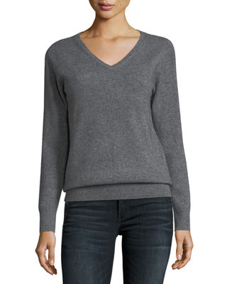 Ribbed Gray Cashmere Sweater | Neiman Marcus