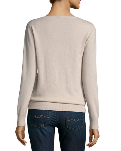 Relaxed V-Neck Cashmere Sweater, Plus Size