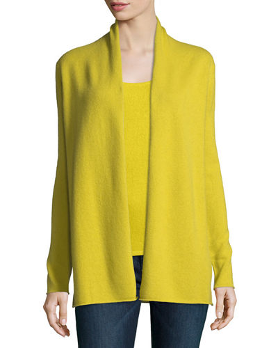 Neiman Marcus Cashmere Collection Classic Draped Cashmere Cardigan ...