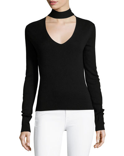 Choker Collar V Front Cashmere-Silk Sweater