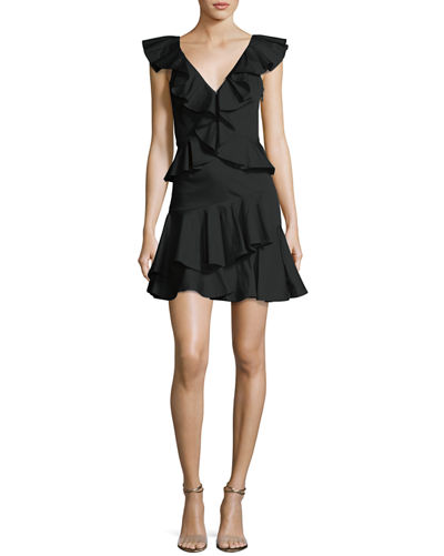 Deep-V Cotton Ruffle Mini Cocktail Dress