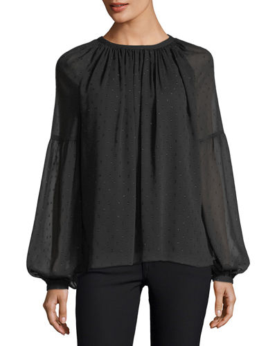 Long-Sleeve Clip Jacquard Peasant Blouse