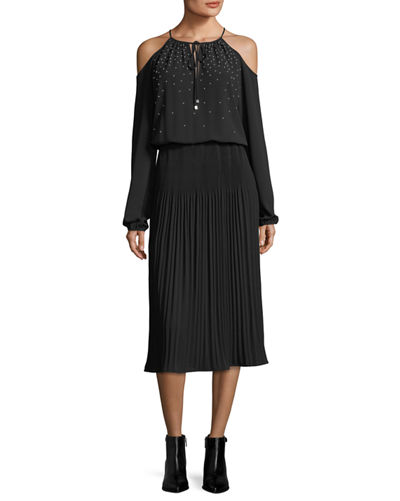 MICHAEL Michael Kors Embellished Cold-Shoulder Pleated Midi Dress