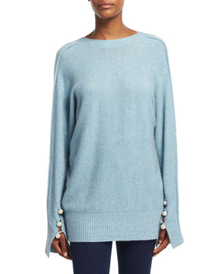 3.1 Phillip Lim Long-Sleeve V-Back Pullover Sweater, Light Blue