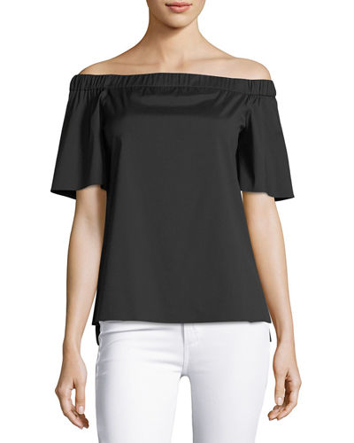 Livvy Short-Sleeve Off-the-Shoulder Stretch-Cotton Blouse