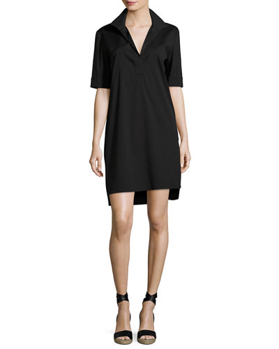 Kennet Short-Sleeve Stretch-Cotton Shirtdress