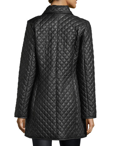 Women's Quilted Leather Trench Coat, Plus Size