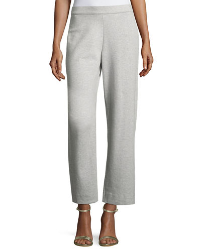 Joan Vass Stretch-Interlock Ankle Casual Pants, Plus Size