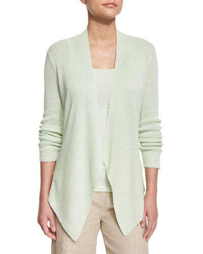 Angled-Front Organic Linen Jacket, Plus Size