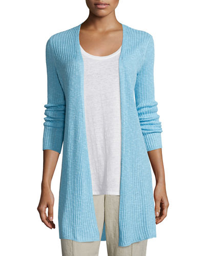 Organic Long Slim Ribbed Cardigan