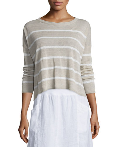 Eileen Fisher Long-Sleeve Striped Box Crop Top, Plus