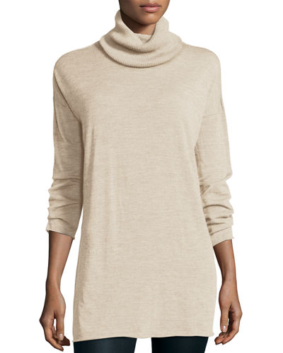 Fisher Project Seamless Featherweight Turtleneck Tunic, Maple Oat