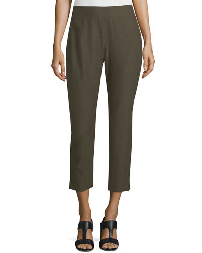 Stretch-Crepe Side-Slit Ankle Pants, Oregano, Plus Size