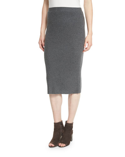 Eileen Fisher Fisher Project Luxe Wool Ribbed-Knit Pencil