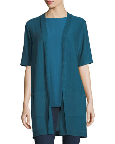Eileen Fisher Long Simple Half-Sleeve Cardigan, Plus Size