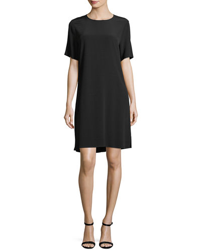 Crinkle Crepe Round-Neck Short-Sleeve Dress, Petite
