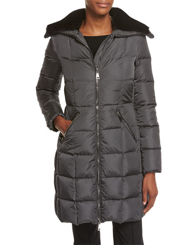 Davida Zip-Front Long-Sleeve Quilted Puffer Coat