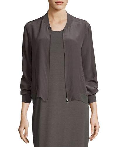 Silk Crepe de Chine Easy Zip Bomber Jacket