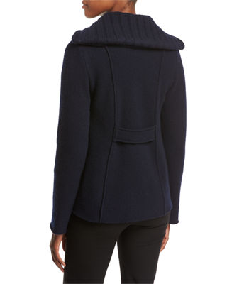 MONCLER Maglia Toggle-Front Jacket W/ Puffer Combo, Navy