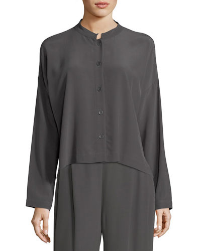 Long-Sleeve Mandarin-Collar Crinkle Crepe Box Top