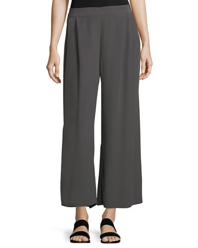 Crinkled Crepe Wide-Leg Pants, Petite