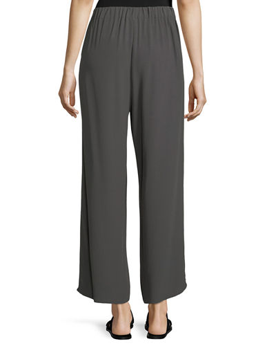 Crinkled Crepe Wide-Leg Pants, Plus Size