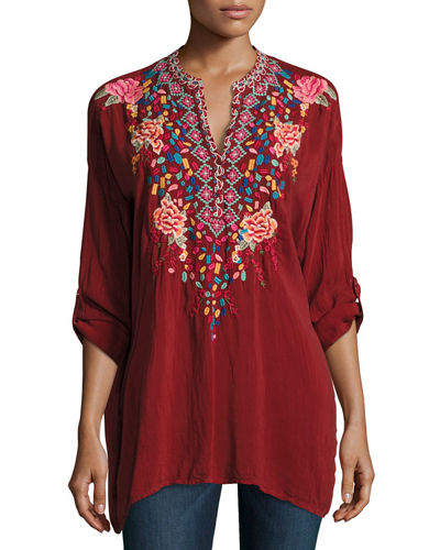 Gemstone Embroidery Long-Sleeve Blouse, Petite