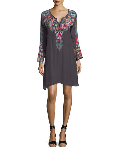 Tanyah Tie-Neck Embroidered Dress w/ Slip, Plus Size
