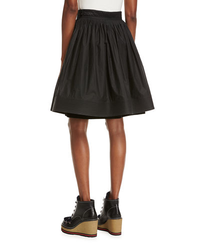 High-Waist Pleated Circle Skirt