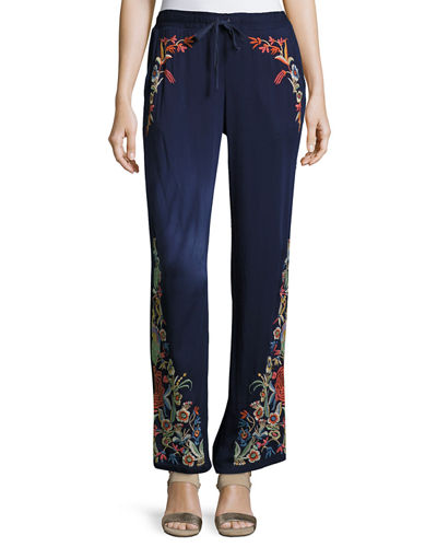 Angeline Embroidered Wide-Leg Easy Pants