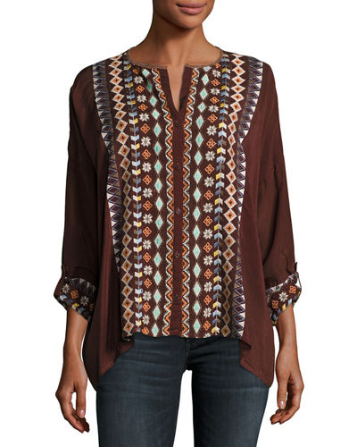Cenote Button-Front Georgette Blouse W/ Embroidery, Plus Size
