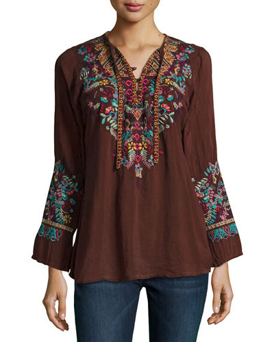 Sheesoh Georgette Blouse w/ Embroidery, Plus Size