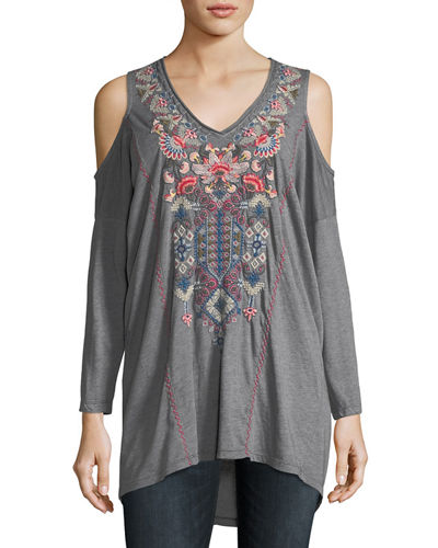 Nindi Cold-Shoulder Embroidered Top, Plus Size