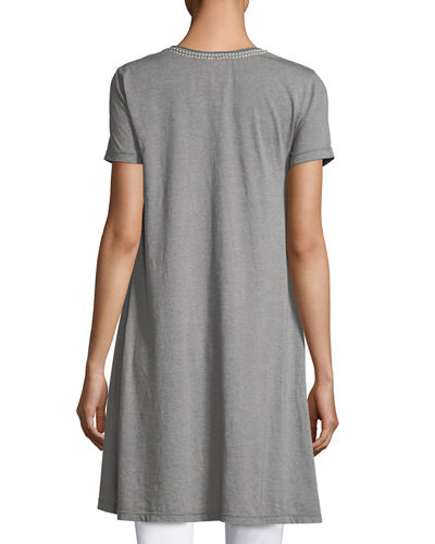 Zoe Short-Sleeve Draped Tunic