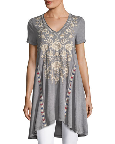 Zoe Short-Sleeve Draped Tunic, Plus Size