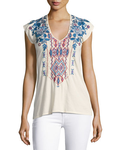 Dexter Cap-Sleeve Embroidered Top